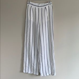 Pants - White and Navy Striped Flowy High Wasted Pants